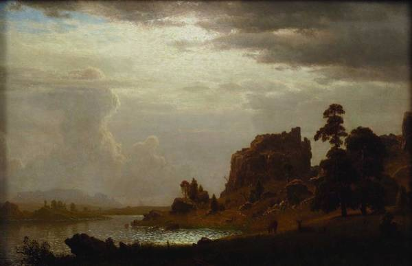 Wall Art - Painting - Albert Bierstadt  1830-1902 On The Sweetwater Near The Devil S Gate, 1860 by Celestial Images