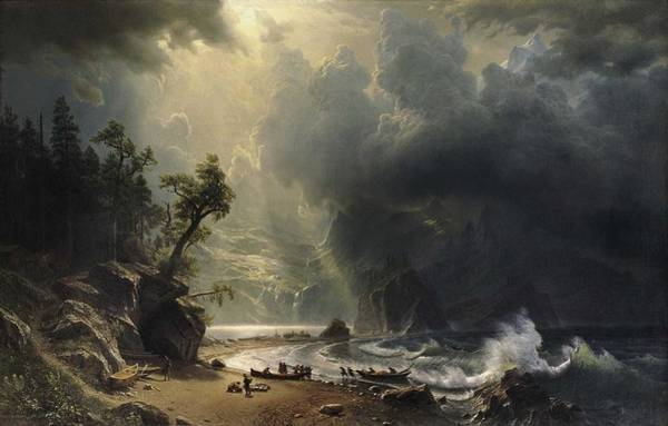 Wall Art - Painting - Albert Bierstadt  1830    1902  Puget Sound On The Pacific Coast by Celestial Images