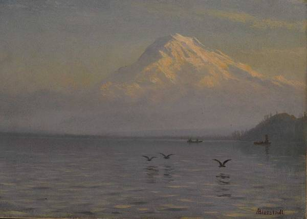 Wall Art - Painting - Albert Bierstadt  1830-1902 View Of Mount Rainier With Fishermen, 1880s by Celestial Images