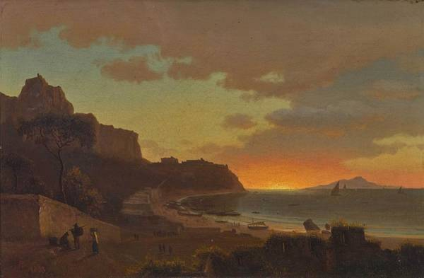 Wall Art - Painting - Albert Bierstadt, 1830 Solingen   1902 New York  Coastal Landscape On The Gulf Of Naples In The Eve by Celestial Images