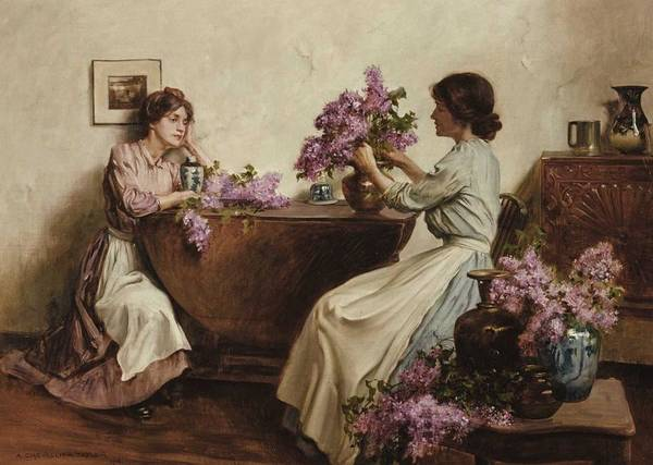 Wall Art - Painting - Albert Chevallier Tayler - Women Arranging Flowers  1906  by Celestial Images