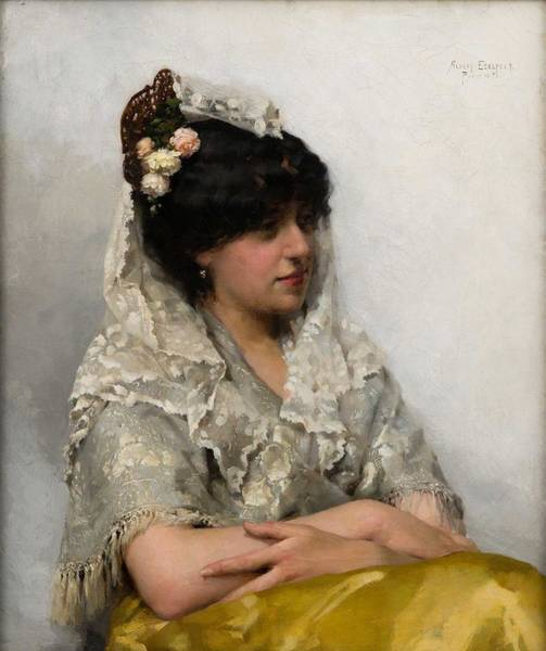 Wall Art - Painting - Albert Edelfelt 1854-1905, White Mantilla by Albert Edelfelt