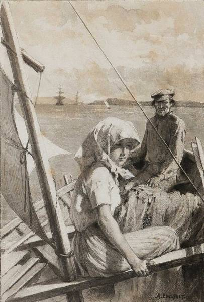 Wall Art - Painting - Albert Edelfelt,  At Sea, Charitable Wash Drawing by Albert Edelfelt