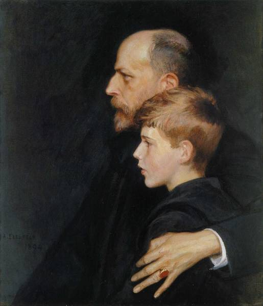 Painting - Albert Edelfelt, Pietro And Mario Krohn by Albert EDELFELT