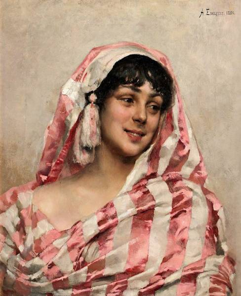 Wall Art - Painting - Albert Edelfelt - Portrait Of Young Woman by Celestial Images