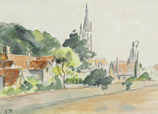 Wall Art - Drawing - All Saints' Church, Beulah Hill by Camille Pissarro