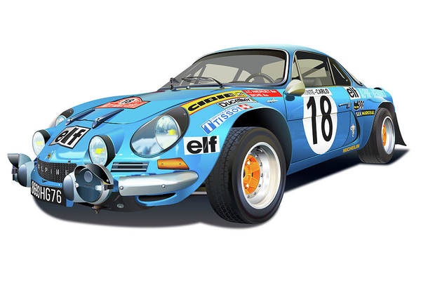 Wall Art - Drawing - Alpine Renault A110 Illustration by Alain Jamar