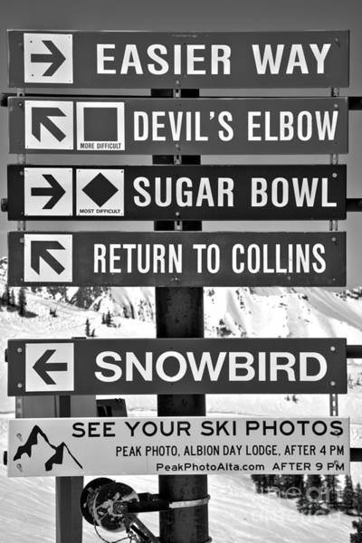 Photograph - Alta Snowbird Connection Directions Black And White by Adam Jewell