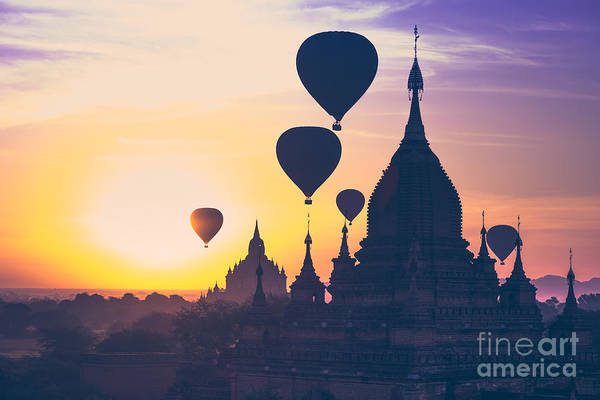 Bagan Photograph - Amazing Misty Sunrise Colors And by Perfect Lazybones