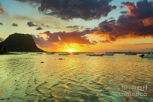 Wall Art - Photograph - Amazing View Of Le Morne Brabant At Sunset.mauritius. by MotHaiBaPhoto Prints