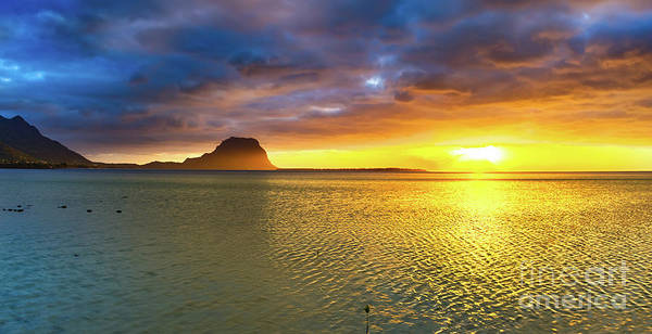 Wall Art - Photograph - Amazing View Of Le Morne Brabant At Sunset.mauritius. Panorama by MotHaiBaPhoto Prints