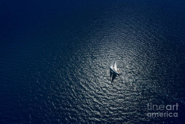 Drone Wall Art - Photograph - Amazing View To Yacht Sailing In Open by Im photo