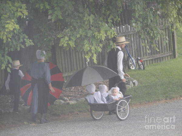 Photograph - An Amish Family Walks To Church by Christine Clark