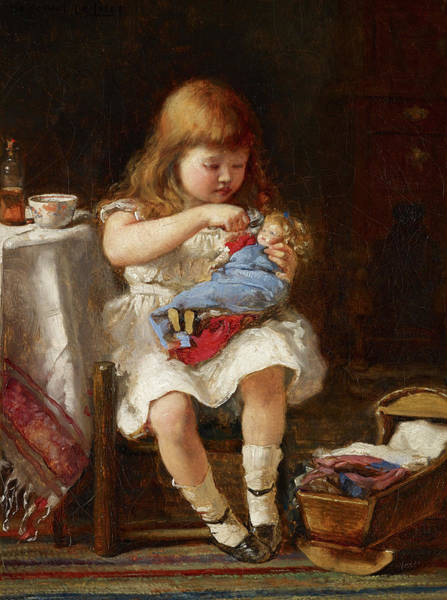 Wall Art - Painting - An Anxious Mother by Percival de Luce