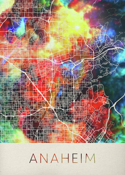 Wall Art - Mixed Media - Anaheim California Watercolor City Street Map by Design Turnpike