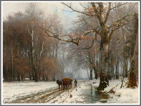 Wall Art - Painting - Anders Andersen Lundby 1841-1923, Farmer In A Winter Landscape - 1882 by Anders Andersen Lundby