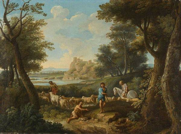 Wall Art - Painting - Andrea Locatelli,  Idyllic Landscape With Shepherds, 1725 by Andrea Locatelli