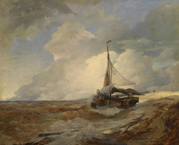 Wall Art - Painting - Andreas Achenbach, Fishing Boat In Distress, 1893 by Andreas Achenbach