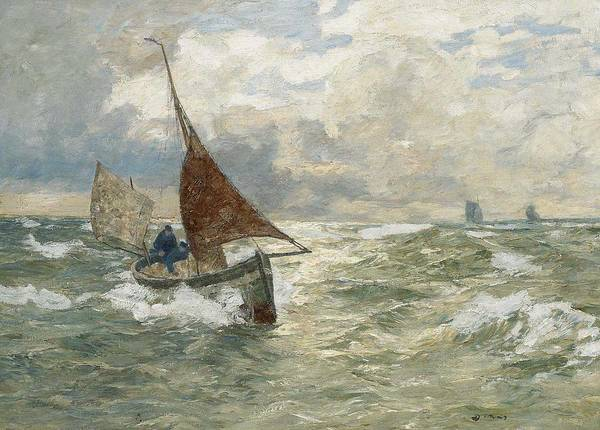 Wall Art - Painting - Andreas Dirks - Fisherman On A Stormy Sea by Andreas Dirks