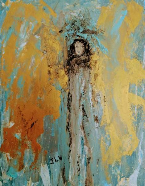 Painting - Angel With Large Golden Wings  by Jennifer Nease