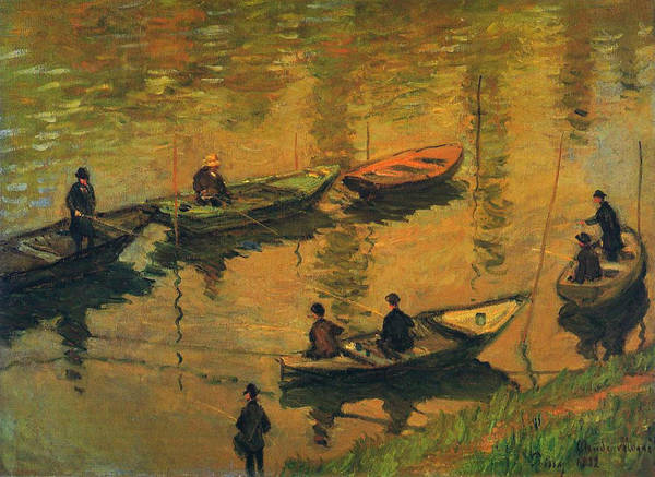 Angler Art Painting - Anglers On The Seine At Poissy, 1882 by Claude Monet