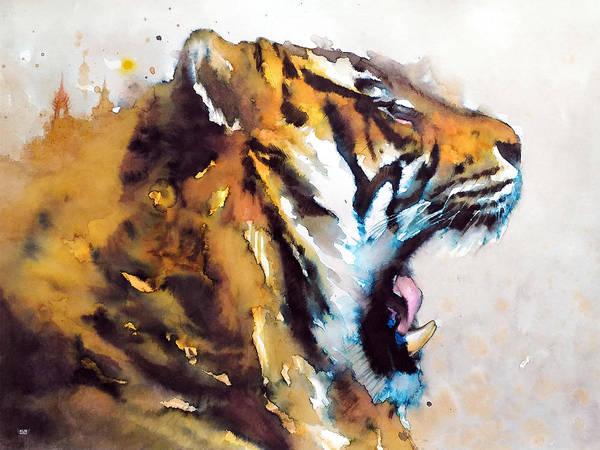 Wall Art - Painting - Angry Tiger by Wachira Kacharat