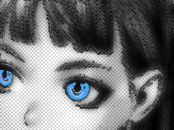 Painting - Anime Girl Eyes 2 Black And White Blue Eyes 2 by Tony Rubino