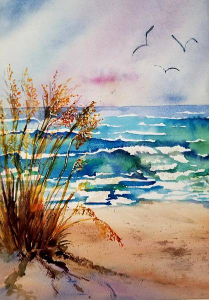 Sea Oats Painting - Anna Maria Afternoon by Gwen Kodad