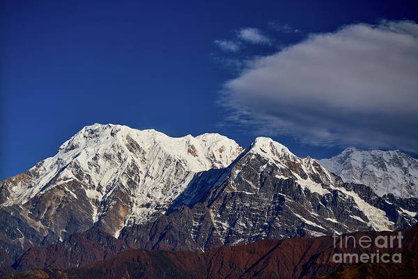 Wall Art - Photograph - Annapurna South Peak And Pass In The Himalaya Mountains, Annapurna Region, Nepal by Raimond Klavins