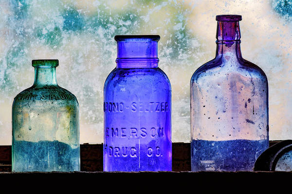 Wall Art - Photograph - Antique Colored Bottles In Window by Adam Jones