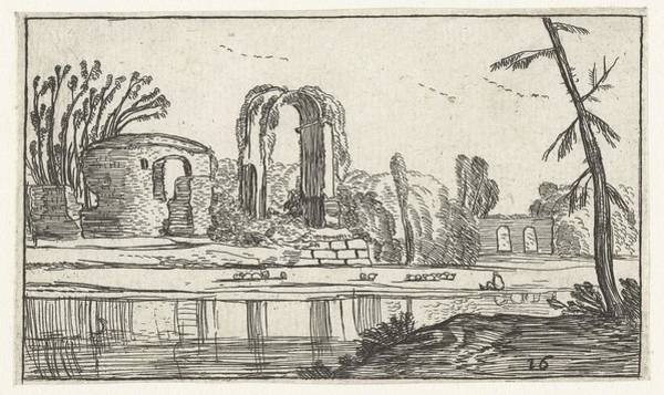 Wall Art - Painting - Antique Ruins Near A River, Esaias Van De Velde, 1617 by Esaias van de Velde