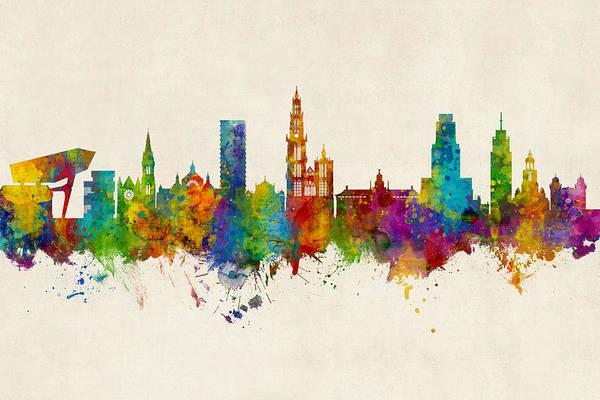 Digital Art - Antwerp Belgium Skyline by Michael Tompsett