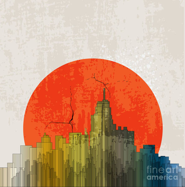 Wall Art - Digital Art - Apocalyptic Retro Poster. Sunset by File404