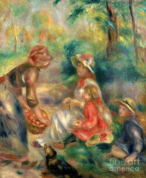 Wall Art - Painting - Apple Vendor by Pierre Auguste Renoir