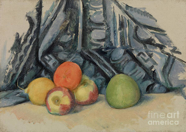 Wall Art - Painting - Apples And Cloth by Paul Cezanne