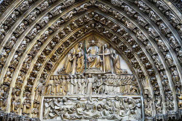 Wall Art - Photograph - Architectural Details Cathedral Notre Dame De Paris France by Wayne Moran