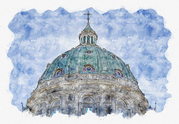 Cupola Digital Art - Architecture #watercolor #sketch #architecture #church by TintoDesigns