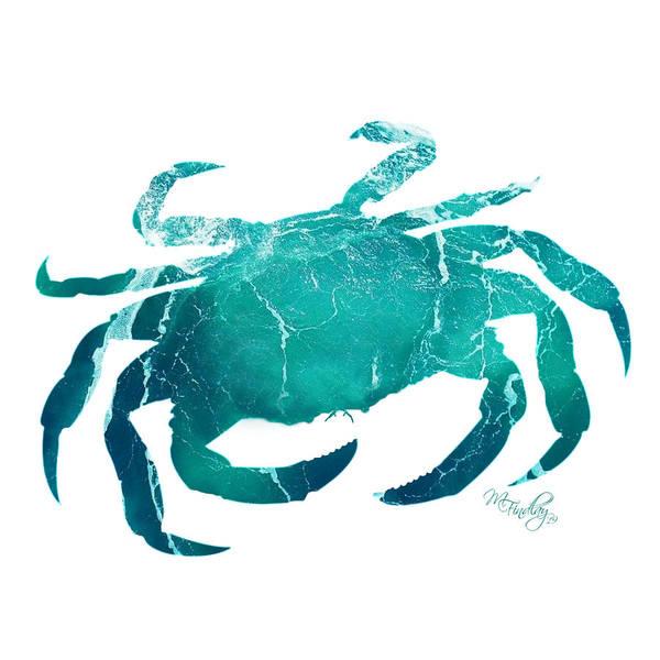 Digital Art - Art Sea Crab In Turquoise by Micki Findlay