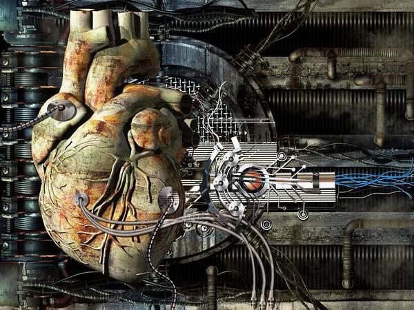 Wire Digital Art - Artificial Heart, Conceptual Artwork by Laguna Design