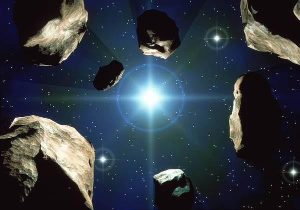 Lens Digital Art - Asteroids Orbiting The Sun by Roger Harris