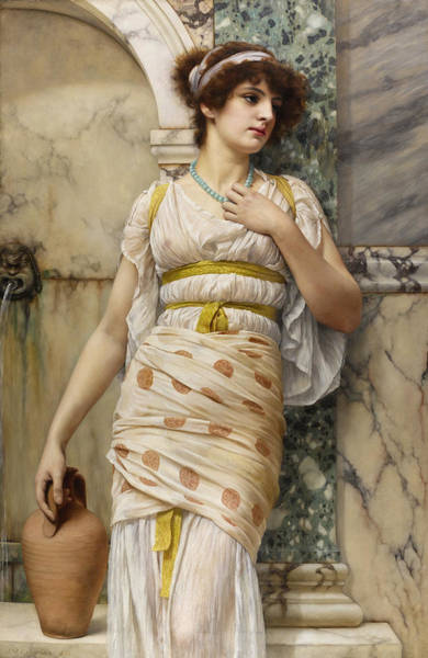 Wall Art - Painting - At The Fountain by John William Godward