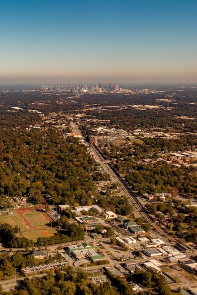 Photograph - Atlanta City Skyline And Suburbs From Ariplane by Alex Grichenko