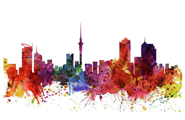 Tall Buildings Painting - Auckland Watercolor Skyline by Marian Voicu