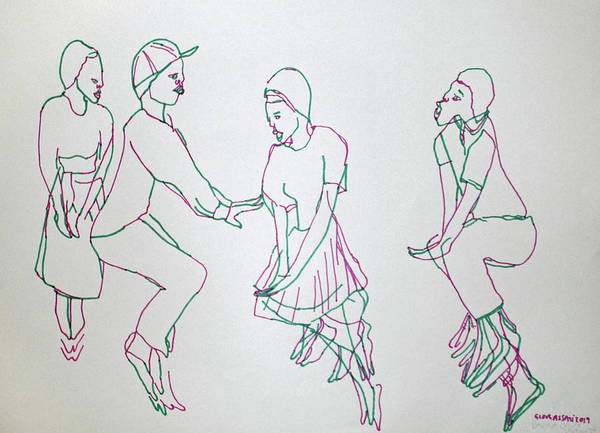 Painting - Bakiga Traditional Dance Uganda by Gloria Ssali