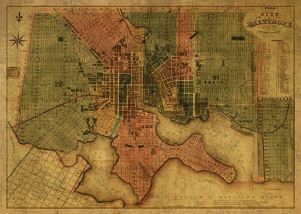 Maryland Mixed Media - Baltimore Maryland Vintage City Street Map 1836 by Design Turnpike
