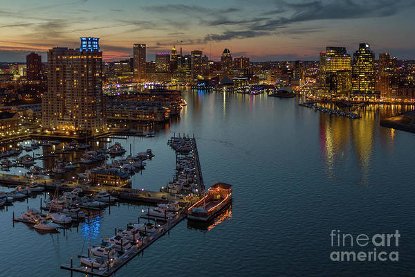 Wall Art - Photograph - Baltimore Skyline And Inner Harbor At Sunset by Bill Cobb