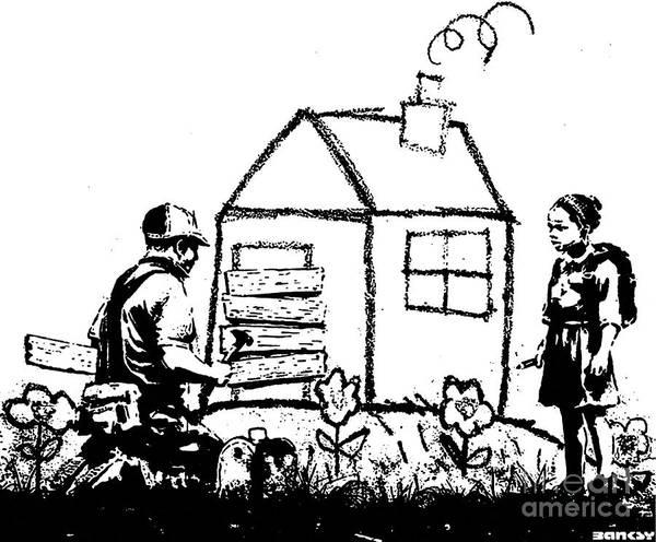 Streetart Mixed Media - Banksy Crayon Foreclosure Playhouse by Streetart