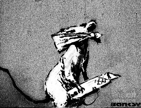 Streetart Mixed Media - Banksy Pompidou Rat Paris by Streetart
