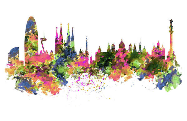 Wall Art - Painting - Barcelona Watercolor Skyline by Marian Voicu