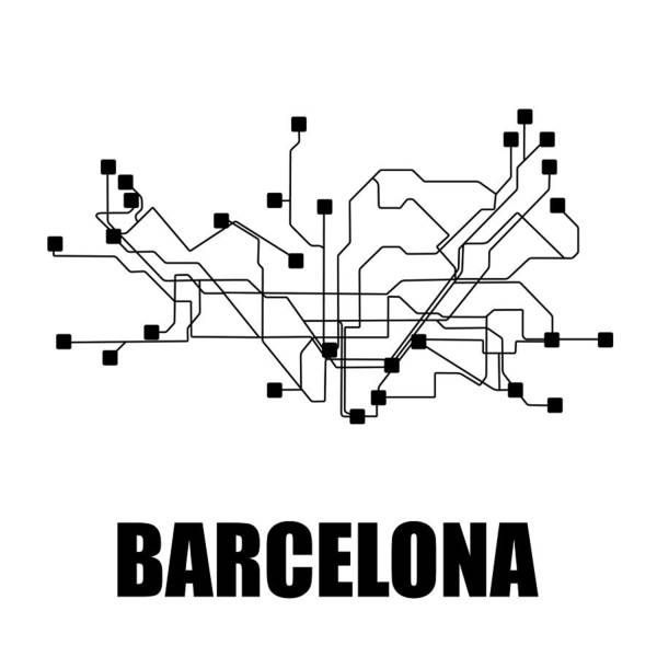 Wall Art - Digital Art - Barcelona White Subway Map by Naxart Studio